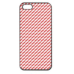 Pattern Red White Background Apple Iphone 5 Seamless Case (black) by Simbadda