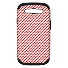 Pattern Red White Background Samsung Galaxy S Iii Hardshell Case (pc+silicone) by Simbadda
