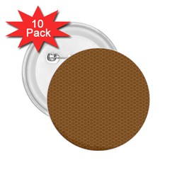 Pattern Honeycomb Pattern Brown 2 25  Buttons (10 Pack)  by Simbadda