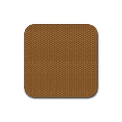 Pattern Honeycomb Pattern Brown Rubber Square Coaster (4 Pack)  by Simbadda