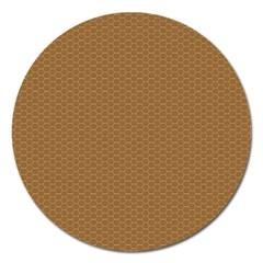 Pattern Honeycomb Pattern Brown Magnet 5  (round) by Simbadda