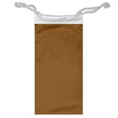Pattern Honeycomb Pattern Brown Jewelry Bag by Simbadda