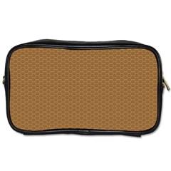 Pattern Honeycomb Pattern Brown Toiletries Bags 2 Side by Simbadda