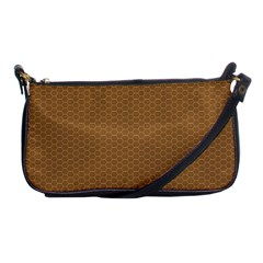Pattern Honeycomb Pattern Brown Shoulder Clutch Bags by Simbadda