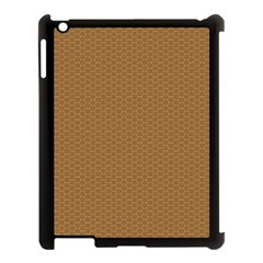 Pattern Honeycomb Pattern Brown Apple Ipad 3/4 Case (black) by Simbadda