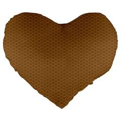Pattern Honeycomb Pattern Brown Large 19  Premium Flano Heart Shape Cushions by Simbadda