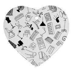 Furniture Black Decor Pattern Ornament (heart) by Simbadda
