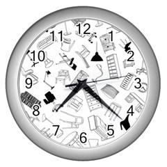 Furniture Black Decor Pattern Wall Clocks (silver)  by Simbadda