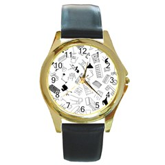 Furniture Black Decor Pattern Round Gold Metal Watch by Simbadda