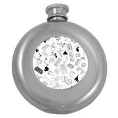 Furniture Black Decor Pattern Round Hip Flask (5 Oz) by Simbadda