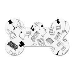 Furniture Black Decor Pattern Dog Tag Bone (two Sides) by Simbadda