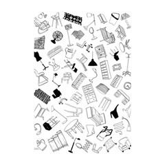Furniture Black Decor Pattern Shower Curtain 48  X 72  (small)  by Simbadda