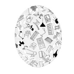 Furniture Black Decor Pattern Oval Filigree Ornament (two Sides) by Simbadda