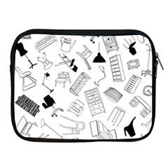 Furniture Black Decor Pattern Apple Ipad 2/3/4 Zipper Cases by Simbadda