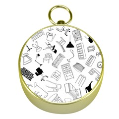 Furniture Black Decor Pattern Gold Compasses by Simbadda