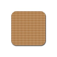 Pattern Gingerbread Brown Rubber Square Coaster (4 Pack)  by Simbadda