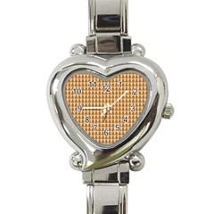 Pattern Gingerbread Brown Heart Italian Charm Watch by Simbadda