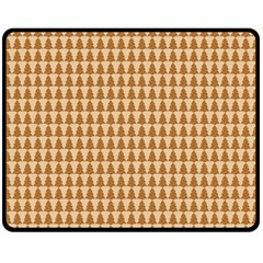 Pattern Gingerbread Brown Double Sided Fleece Blanket (medium)  by Simbadda