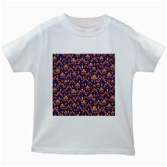 Abstract Background Floral Pattern Kids White T Shirts by Simbadda