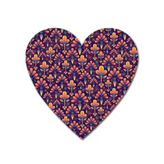 Abstract Background Floral Pattern Heart Magnet by Simbadda