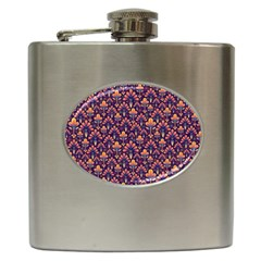 Abstract Background Floral Pattern Hip Flask (6 Oz) by Simbadda