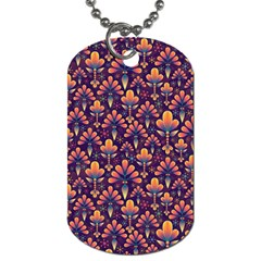 Abstract Background Floral Pattern Dog Tag (two Sides) by Simbadda
