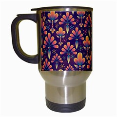 Abstract Background Floral Pattern Travel Mugs (white) by Simbadda