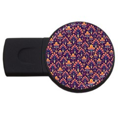 Abstract Background Floral Pattern Usb Flash Drive Round (4 Gb) by Simbadda