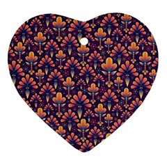 Abstract Background Floral Pattern Heart Ornament (two Sides) by Simbadda