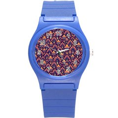 Abstract Background Floral Pattern Round Plastic Sport Watch (s) by Simbadda
