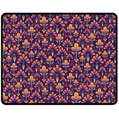 Abstract Background Floral Pattern Double Sided Fleece Blanket (medium)  by Simbadda
