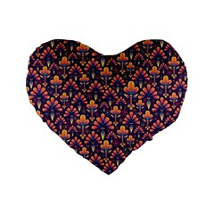 Abstract Background Floral Pattern Standard 16  Premium Flano Heart Shape Cushions by Simbadda