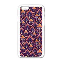 Abstract Background Floral Pattern Apple Iphone 6/6s White Enamel Case by Simbadda