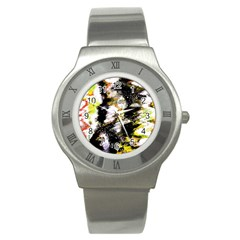 Canvas Acrylic Digital Design Stainless Steel Watch by Simbadda