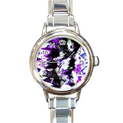 Canvas Acrylic Digital Design Round Italian Charm Watch by Simbadda