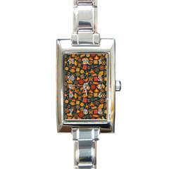 Pattern Background Ethnic Tribal Rectangle Italian Charm Watch by Simbadda