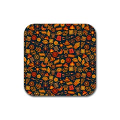 Pattern Background Ethnic Tribal Rubber Coaster (square)  by Simbadda