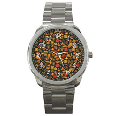 Pattern Background Ethnic Tribal Sport Metal Watch by Simbadda