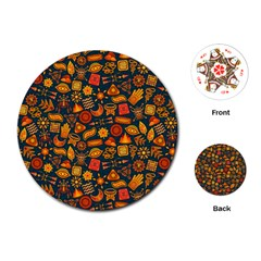 Pattern Background Ethnic Tribal Playing Cards (round)  by Simbadda