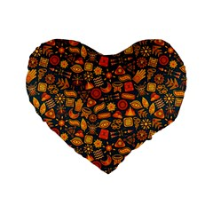 Pattern Background Ethnic Tribal Standard 16  Premium Flano Heart Shape Cushions by Simbadda
