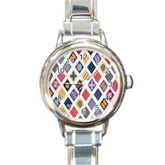 Plaid Triangle Sign Color Rainbow Round Italian Charm Watch by Alisyart