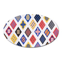 Plaid Triangle Sign Color Rainbow Oval Magnet by Alisyart