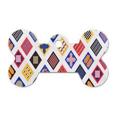 Plaid Triangle Sign Color Rainbow Dog Tag Bone (two Sides) by Alisyart