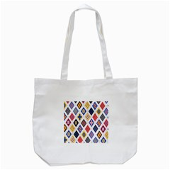 Plaid Triangle Sign Color Rainbow Tote Bag (white) by Alisyart