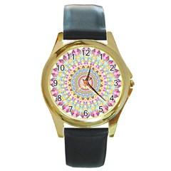 Kaleidoscope Star Love Flower Color Rainbow Round Gold Metal Watch by Alisyart