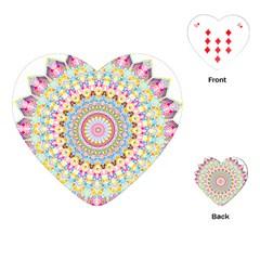 Kaleidoscope Star Love Flower Color Rainbow Playing Cards (heart)  by Alisyart