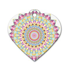 Kaleidoscope Star Love Flower Color Rainbow Dog Tag Heart (two Sides) by Alisyart