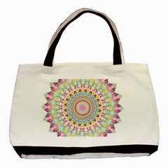 Kaleidoscope Star Love Flower Color Rainbow Basic Tote Bag (two Sides) by Alisyart