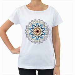 Prismatic Flower Floral Star Gold Green Purple Orange Women s Loose Fit T Shirt (white) by Alisyart
