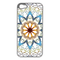 Prismatic Flower Floral Star Gold Green Purple Orange Apple Iphone 5 Case (silver) by Alisyart